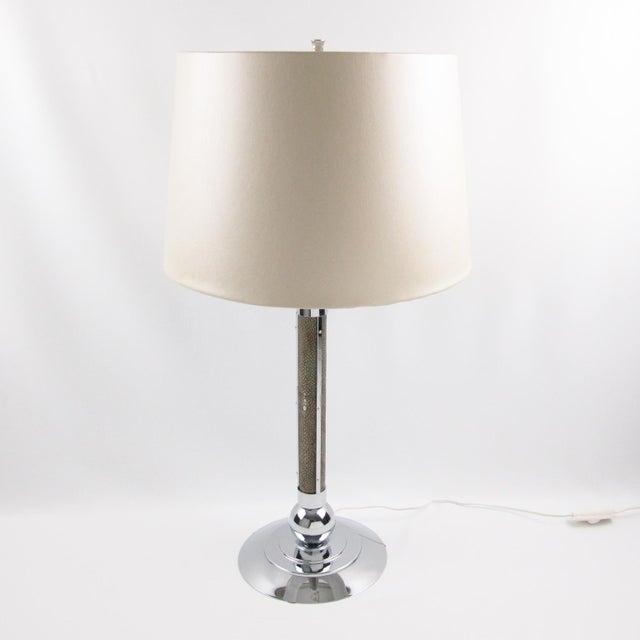 Art Deco 1930s Shagreen Chrome Modernist Table Lamp For Sale - Image 9 of 9