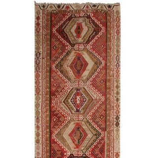 "1930's Vintage Kayseri Geometric Tan Wool Kilim Rug-5'x11'11"" For Sale"