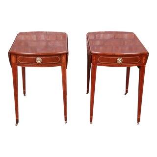 Baker Furniture Historic Charleston Mahogany Pembroke Tea Tables, Pair For Sale