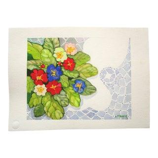 Primroses Original Still Life Botanical Watercolor Painting For Sale