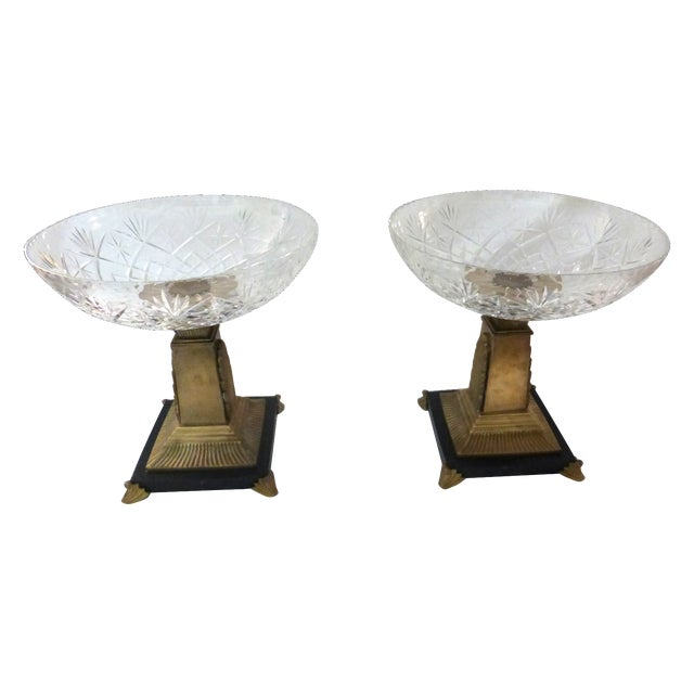 Art Deco Style Crystal Compotes - Pair - Image 1 of 6