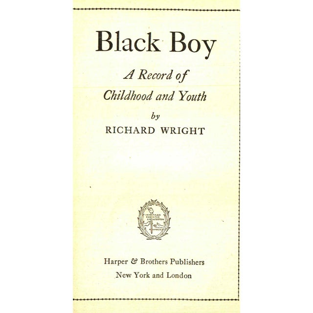 """Traditional 1945 """"Black Boy: A Record of Childhood and Youth"""" Collectible Book For Sale - Image 3 of 4"""