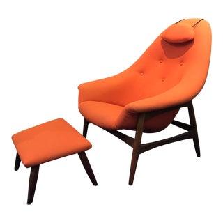1960s Danish Lounge Chair & Ottoman