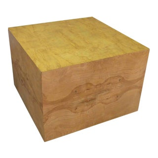 Milo Baughman Burl Wood Display Cube Coffee Table