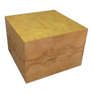Milo Baughman Burl Wood Display Cube Coffee Table For Sale