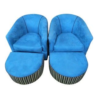 Mid Century Modern Blue and Striped Swivel Club Lounge Chairs and Ottomans- 4 Pieces For Sale