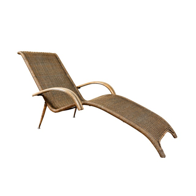 Mid-Century Italian Rattan Lounge Chair For Sale - Image 9 of 9