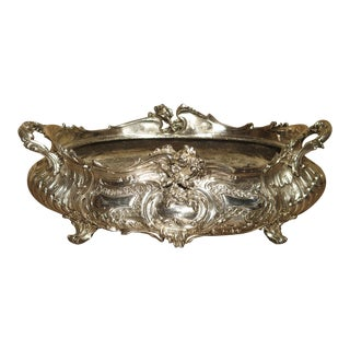19th Century Antique French Silvered Bronze Cachepot For Sale