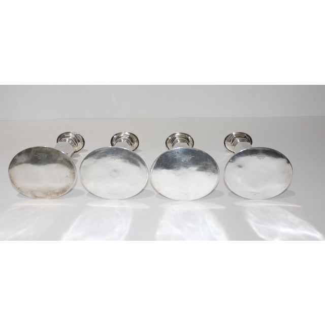 Vintage Tiffany Sterling Candle Holders #17659 Oval Base Curved Oval Top - a Set of 4 For Sale - Image 9 of 13
