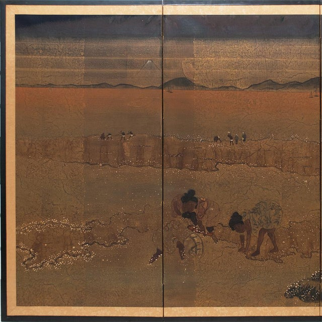 Circa 1880 large Japanese 4-panel Byobu Screen in Kano School style depicting farmers on the field picking cotton and...
