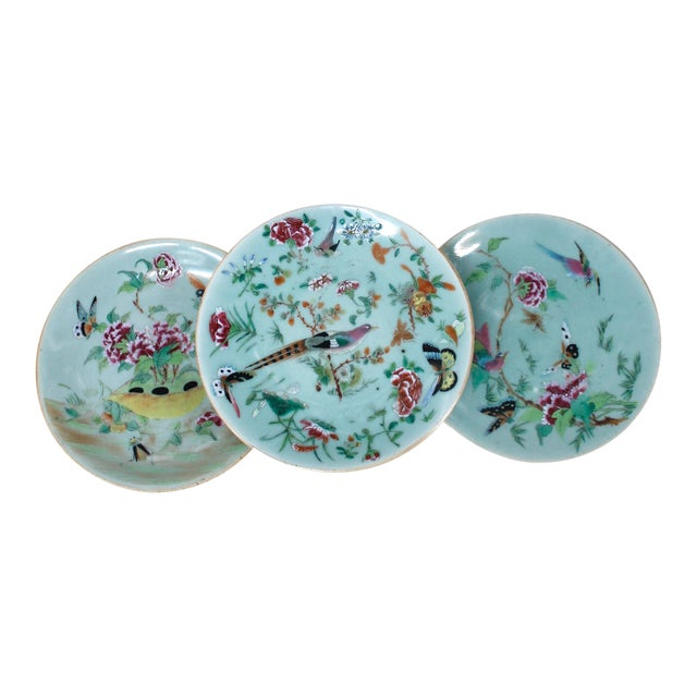 19th Chinese Export Rose Canton Celadon Porcelain Plates - Set of 3 For Sale