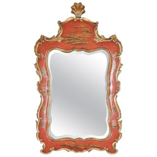 Theodore Alexander Chinoiserie Red Lacquer and Gold Painted Mirror For Sale