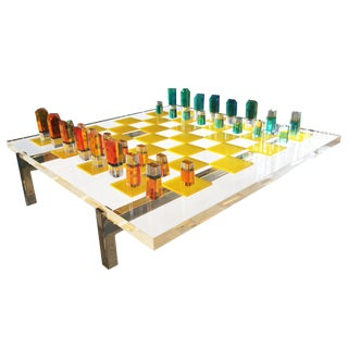 Charles Hollis Jones Lucite Chess Set With Original Nickel Base and Box, Signed For Sale