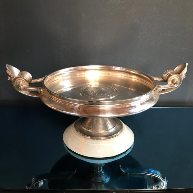 Rare Italian 1950s raised silver Barbiedienne tray with original marble base.