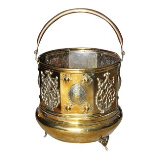 Antique Ornate Brass Fireplace Coal Bucket or Firewood Holder For Sale