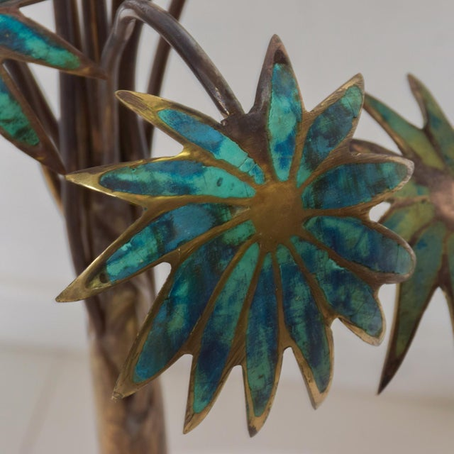 1950s Pepe Mendoza Palm Tree Table Lamp in Bronze & Malachite, Mexico For Sale In San Diego - Image 6 of 11