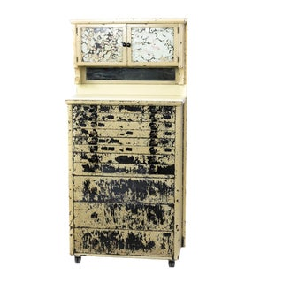 1920 Industrial Chipped Paint Dental Cabinet With Marble Counter For Sale