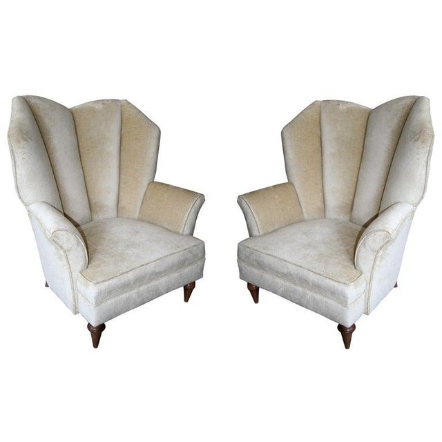 White 1950's Arturo Pani Beige Velvet Upholstered Lounge Chairs - a Pair For Sale - Image 8 of 8