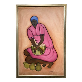 Haitian Portrait of a Woman Painting, Framed For Sale