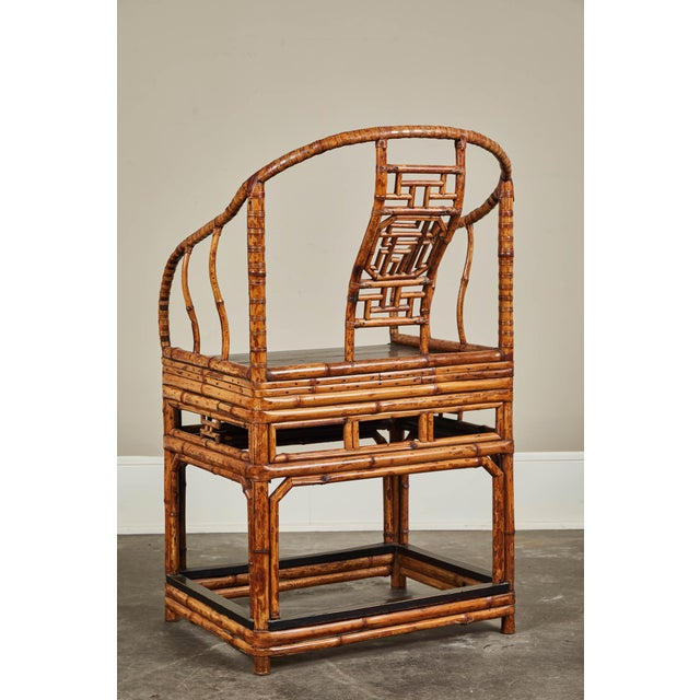 19th C. Chinese Bamboo Horseshoe Armchair For Sale - Image 4 of 10