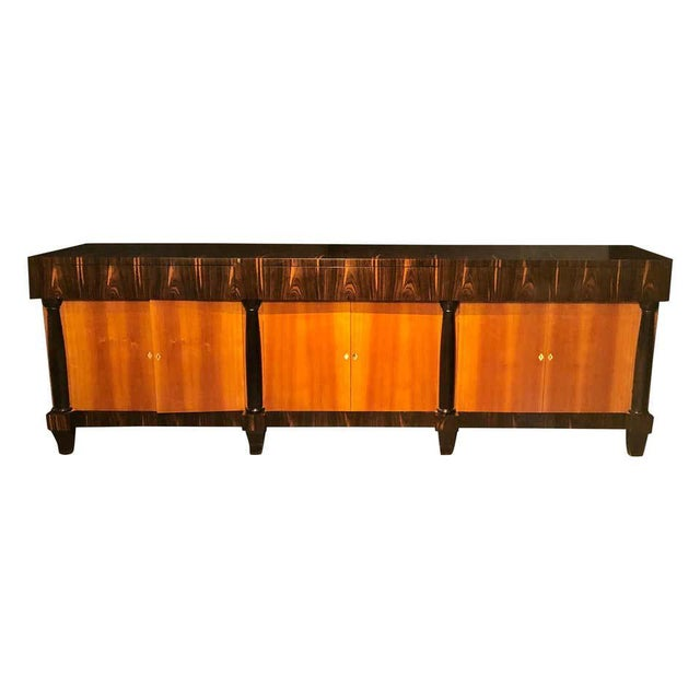 Palatial Six Door Macassar Sideboard Cabinet Ebonized Column and Feet Support For Sale - Image 13 of 13