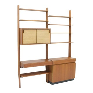 Dieter Waeckerlin Shelf System Wall Unit in Teak Wood, Behr Germany, 1950s For Sale