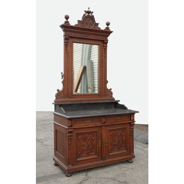 French Antique Ornate French Victorian Renaissance Revival Dresser Credenza W Marble For Sale - Image 3 of 12