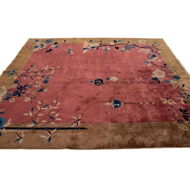 Early 20th Century Antique Art Deco Chinese Red Wool Rug For Sale - Image 10 of 13