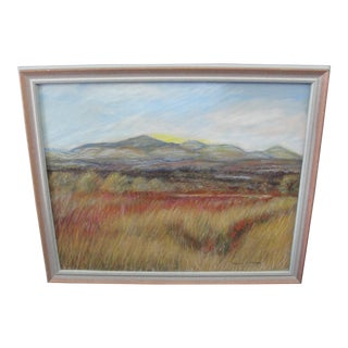 Late 20th Century Vintage Suzanne M Wright Impressionistic Colored Pencil Landscape Drawing