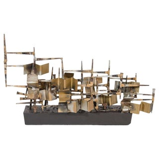 Mid-Century Mixed Metal Brutalist Sculpture Attributed to Silas Seandel