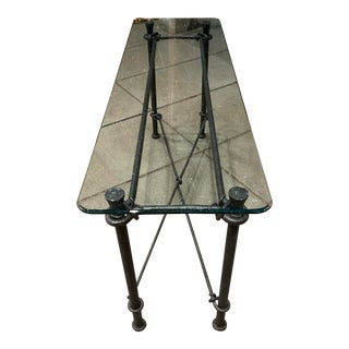 Mid-Century Modern Rectangular Wrought Iron Glass Top Sofa Console Table After Giacometti For Sale