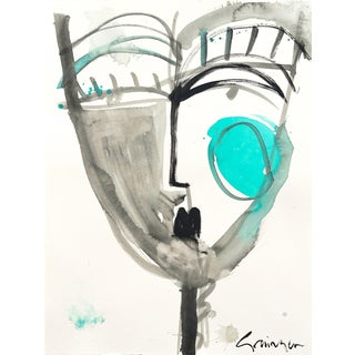 "Lesley Grainger ""Teal Babe No. 1"" Original Face Painting For Sale"