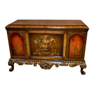 Antique Tudor Style Carved Cabinet For Sale