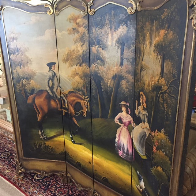 Hand Painted Colonial Scene Divider Screen For Sale In West Palm - Image 6 of 11
