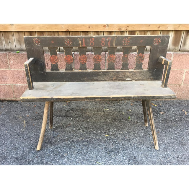 Antique Rustic European Bench - Image 2 of 4
