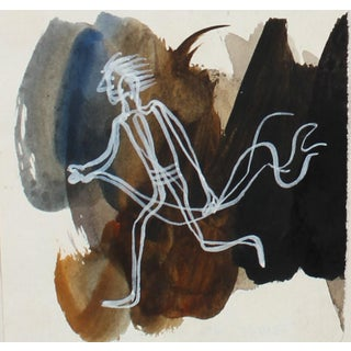 Petit Dynamic Running Figure in White 1946 Gouache For Sale