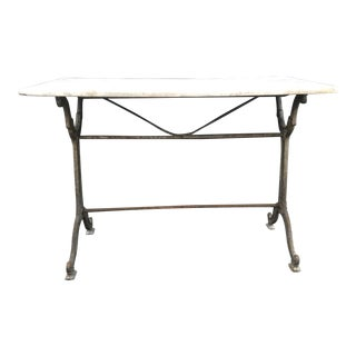 French Antique Carrara Marble and Iron Cafe or Bistro Table or Desk For Sale