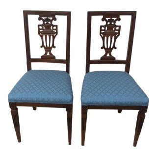 Vintage Mid Century Hepplewhite Style Federal Mahogany Dining Side Chairs- A Pair For Sale