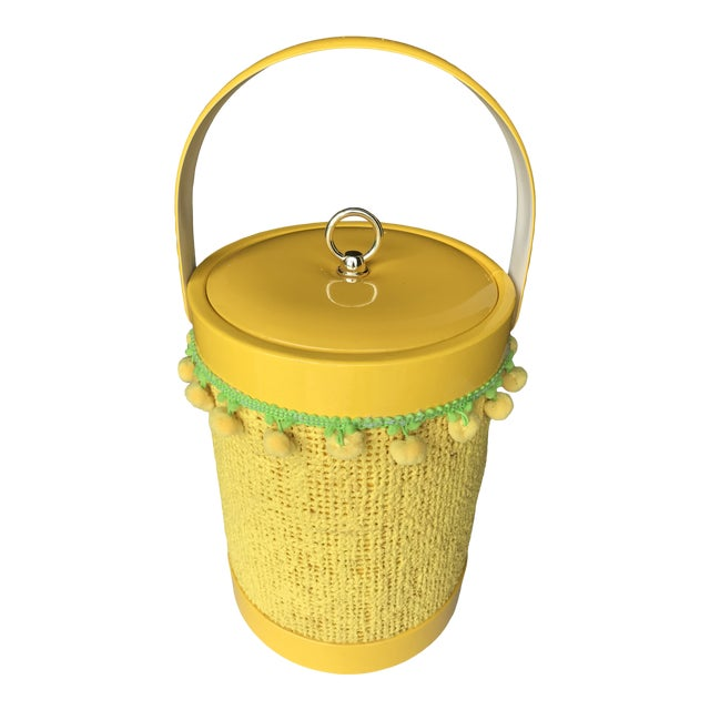 Vintage Mid-Century Modern Yellow Fringed Ice Bucket For Sale