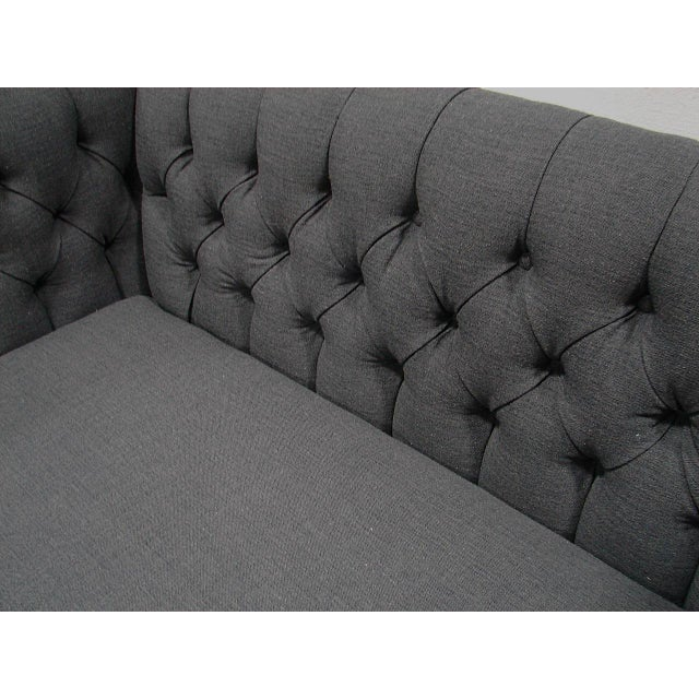 Bernhardt Tufted Blue Linen Sofa - Image 4 of 5