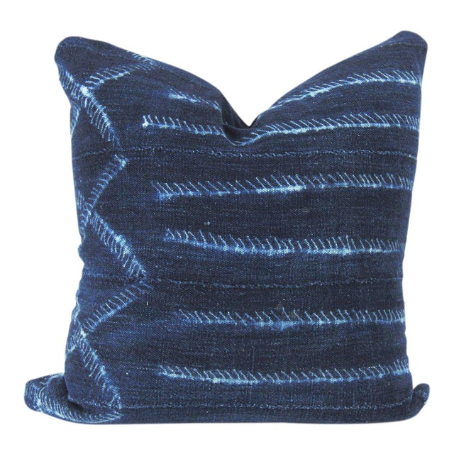 Blue Electric Mudcloth Pillow For Sale