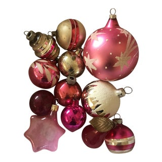 1970s Vintage Pink and Silver Blown Glass Ornaments - Set of 12 For Sale
