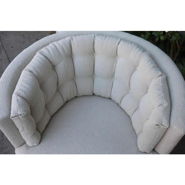 Fabric Milo Baughman Style Swivel Chairs - A Pair For Sale - Image 7 of 10