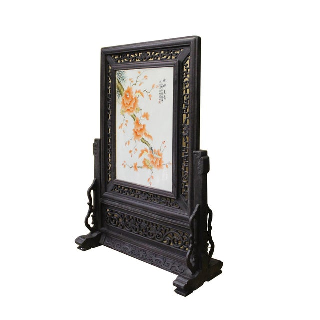 Asian Chinese Wood Frame Porcelain Plaque Table Top Screen Display For Sale - Image 3 of 9