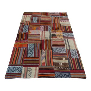 3'x4'6'' / 92x138 CM Patchwork Rug, Small Size Colorful Vintage Handmade Recycled Patchwork Kilim Rug for Kids Room, Office, Living Room For Sale