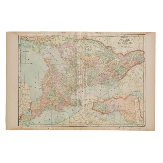 White Cram's 1907 Map of Ontario For Sale - Image 8 of 8