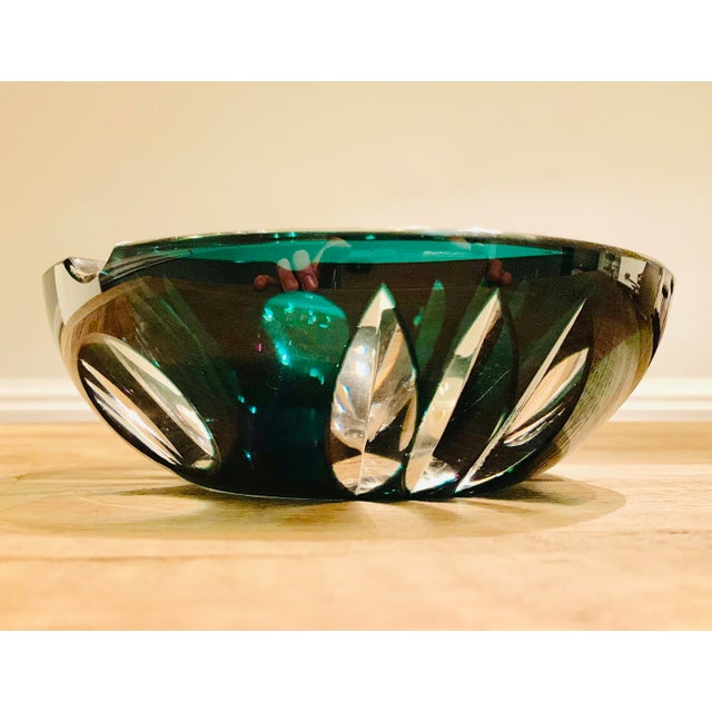 Beautiful vintage crystal glass ashtray. Bohemian style glass, circa 70's. Emerald green color/clear glass. In very good...
