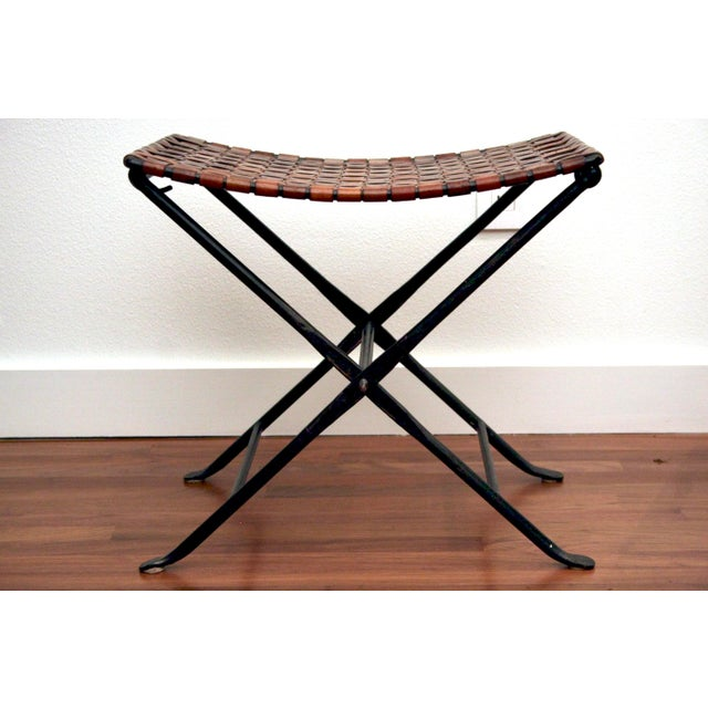 Awesome Leather And Iron Folding X Base Ottoman Stool Gmtry Best Dining Table And Chair Ideas Images Gmtryco