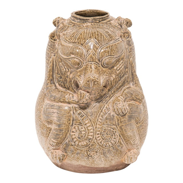Early 20th Century Chinese Twin Mythical Jar For Sale
