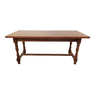 Vintage Pine H-Stretcher Small Dining Table For Sale